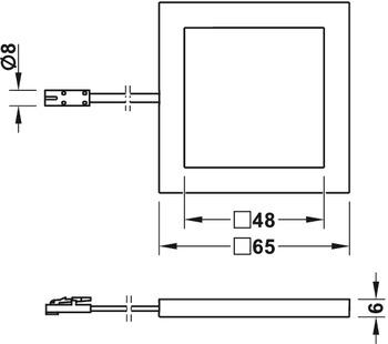 AB-G77180/181 (Neliö) Ohut 6mm paksu pinta asennettava kalustevalaisin (Huom. 24V)